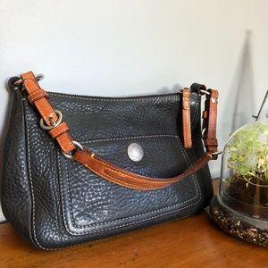 90's Coach Pebbled Black Leather Baguette Handbag